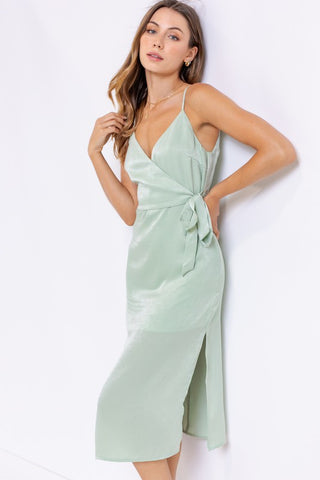 Aurora Satin Wrapped Midi Dress