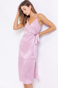 Aurora Satin Wrapped Midi Dress in Lavender