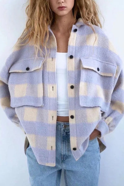 Trend Setter Wool Shacket in Lavender Plaid