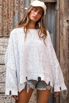 Moon Sign Distressed Sweater