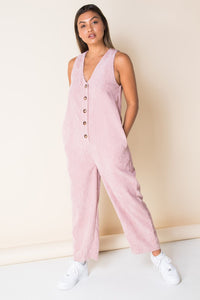Carefree Corduroy Jumpsuit in Bubblegum