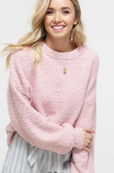 fuzzy blush pink sweater
