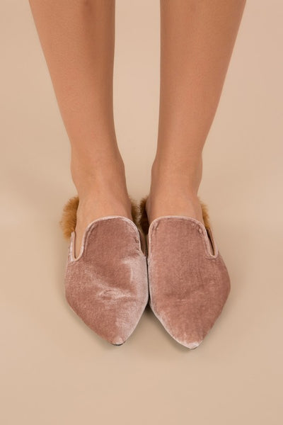 """Love Story"" Velvet Fur Flats - denim & street"