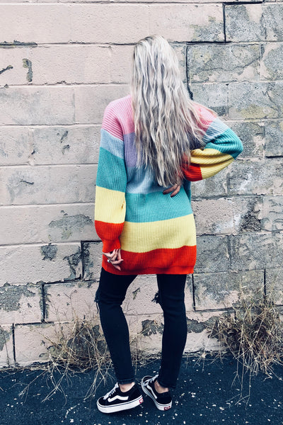 colorful striped cardigan in rainbow