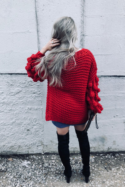 bobble sleeve knit cardigan