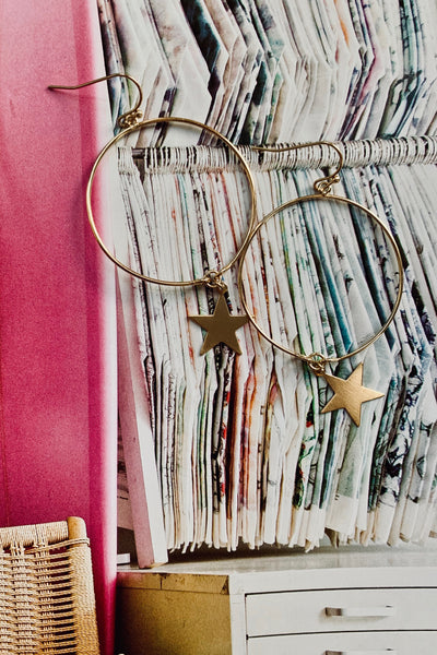 Seeing Stars Gold Hoops