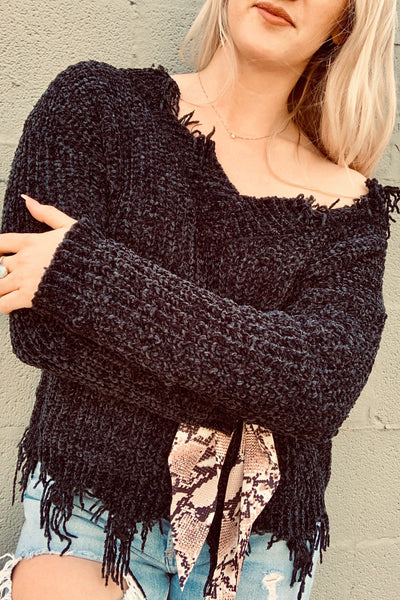 """Torn"" Off the Shoulder Sweater"
