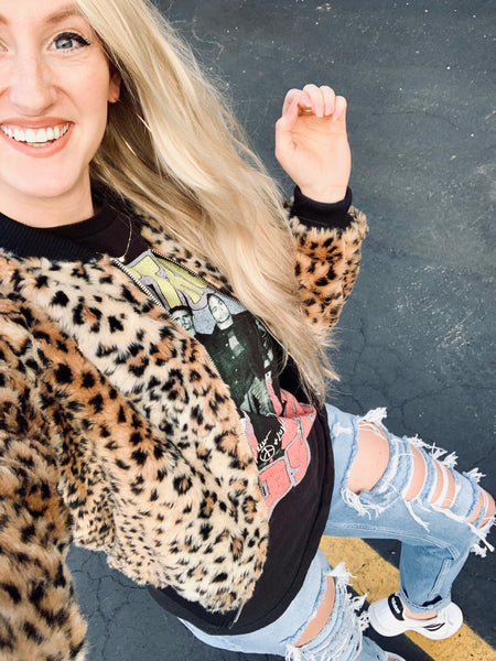 """Wild Thing"" Leopard Bomber Jacket"