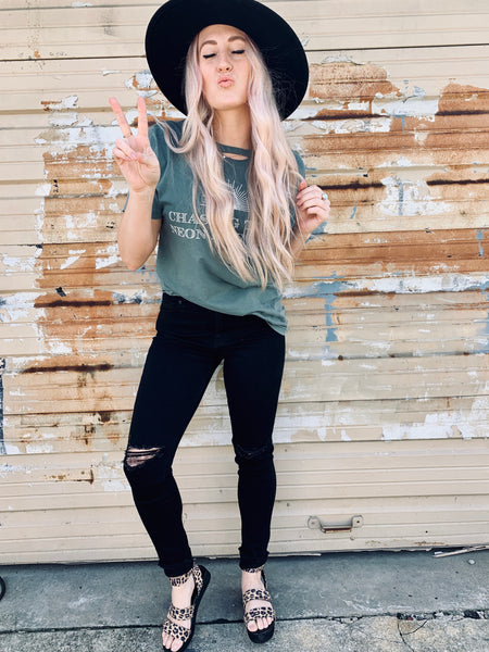 Neon Rainbow Distressed Tee
