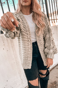 Dream Girl Bubble Sleeve Cardigan in Olive
