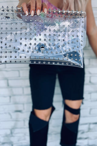 So Jelly Clear Studded Bag-Silver