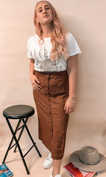 Wild One Button Midi Skirt