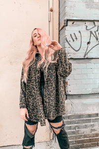 On My Mind Leopard Grunge Shacket