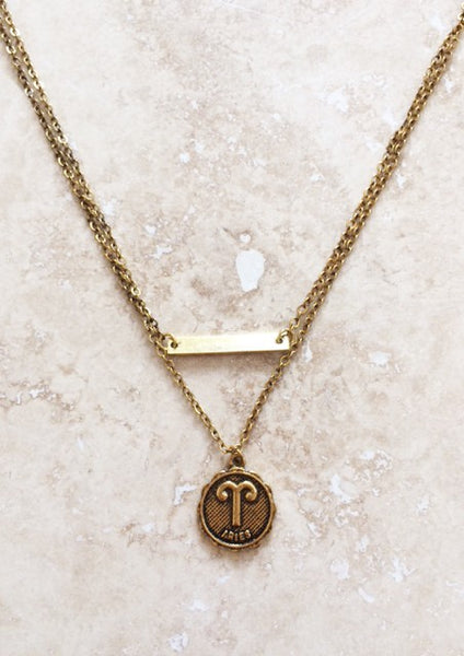 Zodiac Sign Gold Necklace - denim & street