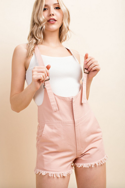"""Teenage Dream"" Pink Overall Shorts"