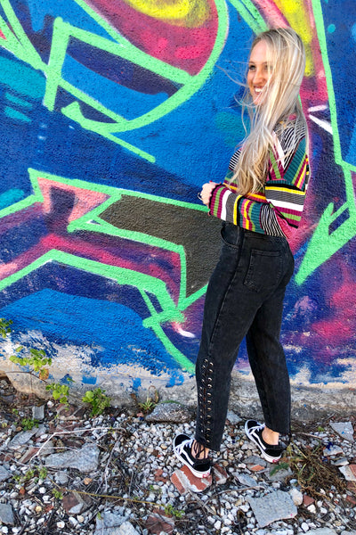 Vintage wash high waist black jeans