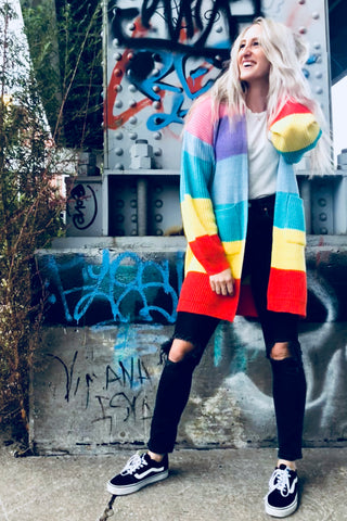 Retro Striped Rainbow Cardigan