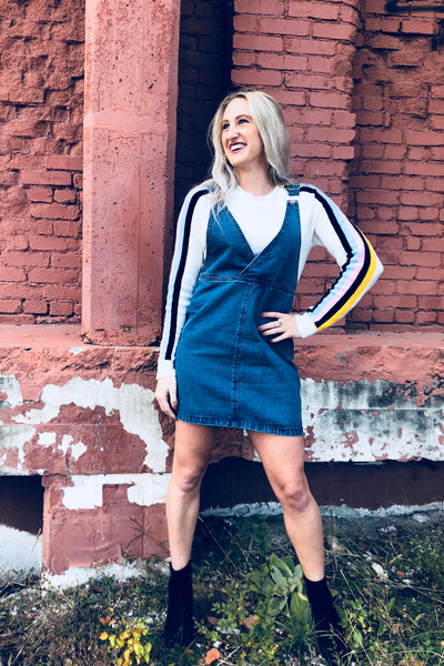 Women's Denim Overall Dress outfit