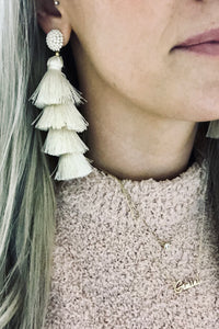 Beaded Tassel Earrings- Ivory - denim & street