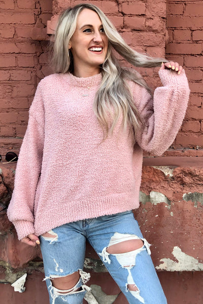 fuzzy pink sweater