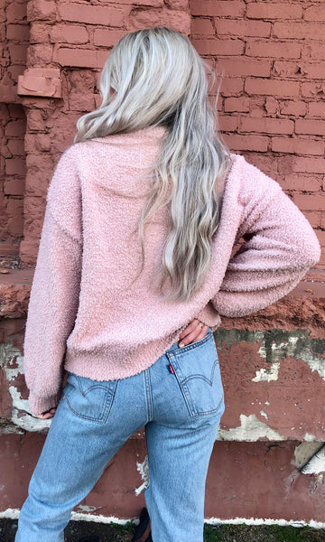 cozy comfy pink pullover sweater