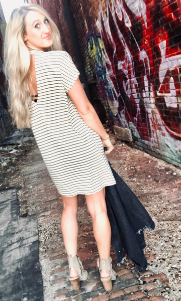"""She Will Be Loved"" Olive Stripe Dress"