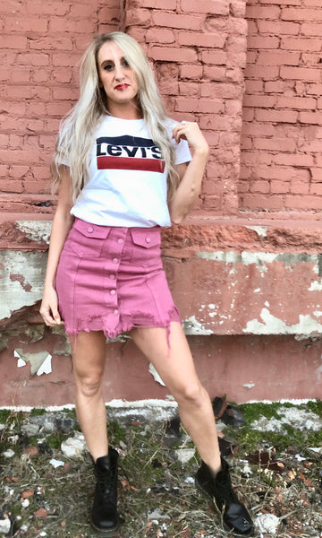 """Complicated"" Pink Distressed Denim Skirt"