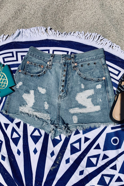 Edgy Girl Distressed Denim Shorts
