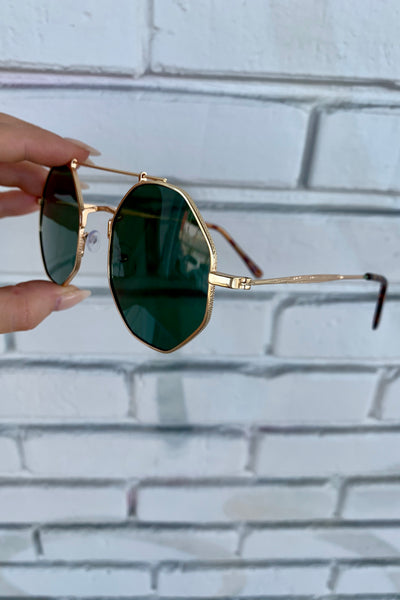 Eye Love It Sunnies- Gold/Green