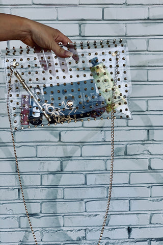 So Jelly Clear Studded Bag-Gold