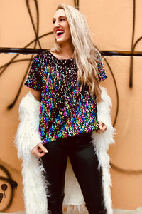 """Up All Night"" Rainbow Sequin Top 🌈 - denim & street"