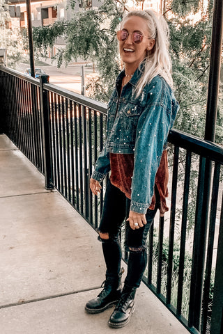 """Rebel Girl"" Pearl Denim Jacket"