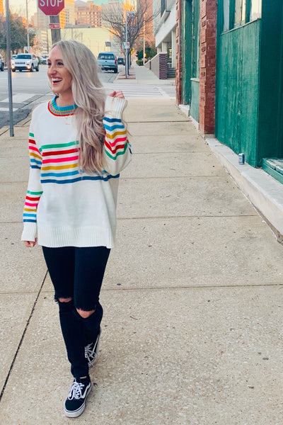 70s rainbow stripe sweater