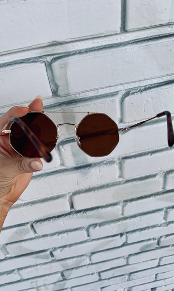 Eye Love It Sunnies- Gold/Brown