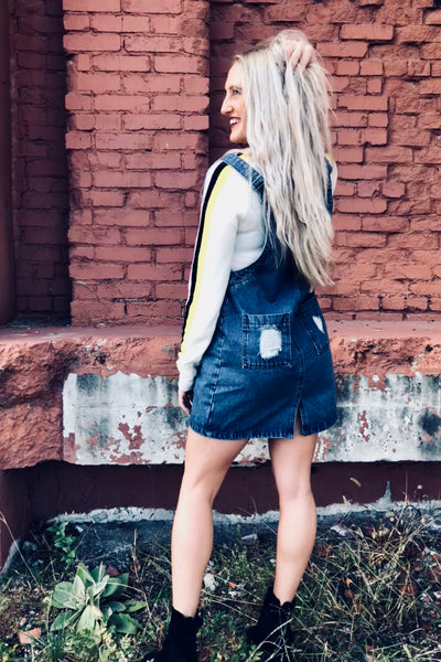 reversible denim overall dress outfit