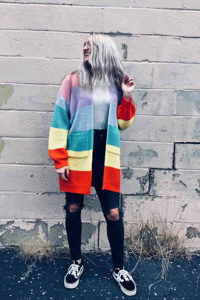 colorful striped retro rainbow cardigan