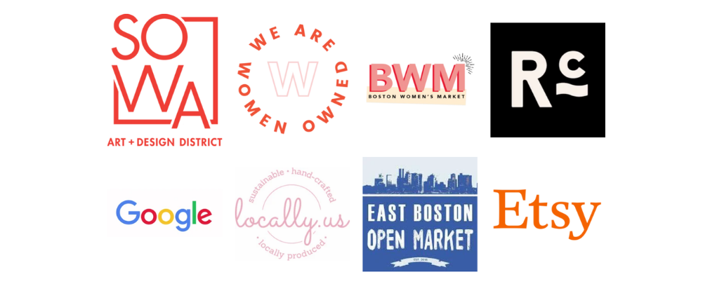 The Blank Canvas Company - Businesses We Sell With - About Me - Meet The Maker - Boston Artist - Sowa Open Market - We Are Women Owned - Boston Women's Market - Renegade Craft - Google - LocallyUs - Eastie Open Market - Etsy