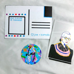 Handmade inauguration day custom art. Includes 3 handmade postcards + 2 stickers - all female empowerment themed. They include uplifting quotes from Kamala Harris and Joe Biden, our president and vice president elect. Phrases included: I'm Speaking, The Future is Female, Fear never builds the future but hope does, etc.
