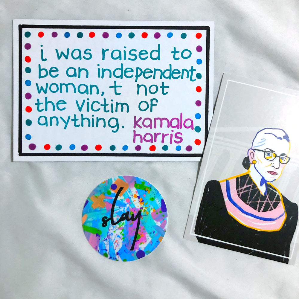 Load image into Gallery viewer, Handmade inauguration day custom art. Includes 3 handmade postcards + 2 stickers - all female empowerment themed. They include uplifting quotes from Kamala Harris and Joe Biden, our president and vice president elect. Phrases included: I'm Speaking, The Future is Female, Fear never builds the future but hope does, etc.