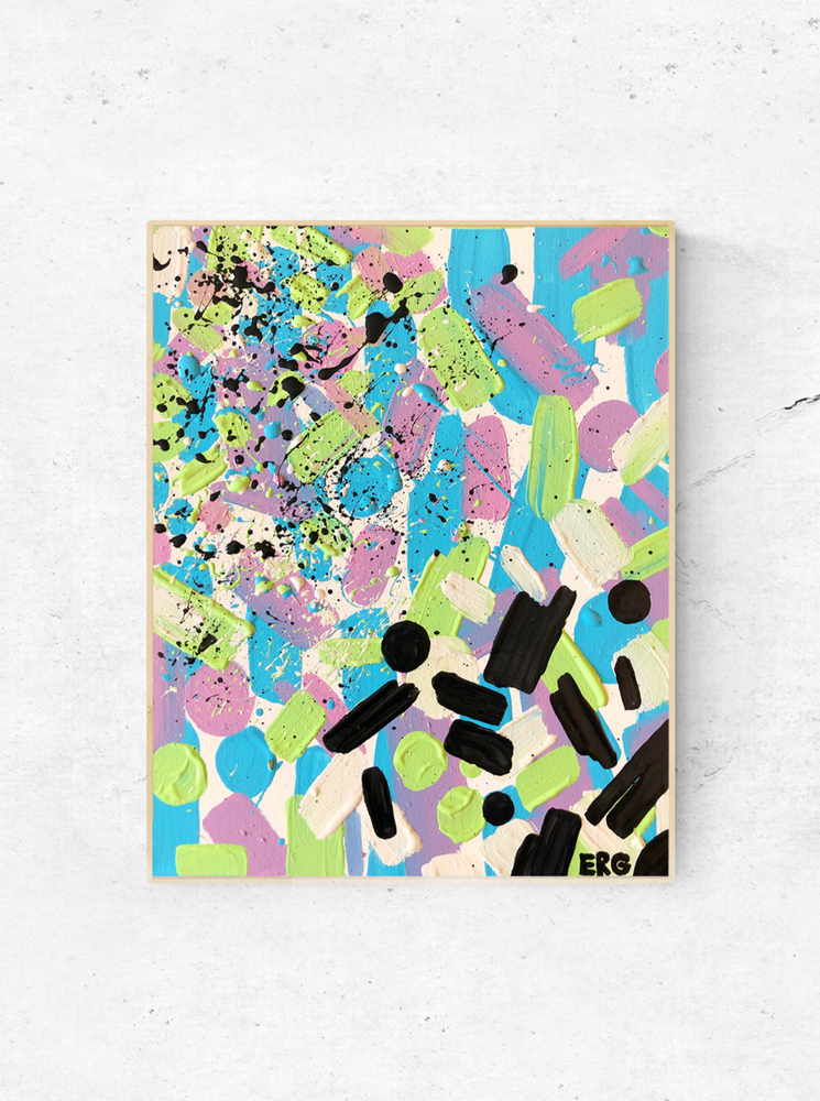 "Load image into Gallery viewer, My ""Neon Abstract"" 11""x14"" original canvas is bright, fun and feminine. I hope it brings good vibes and positivity to your space!"