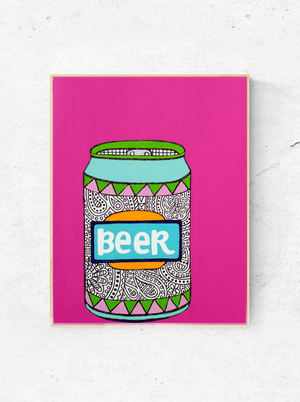 "My ""Bold Beer Can"" art print is vibrant take on a classic beverage. It's for my females who aren't afraid to make a statement (and chug a craft beer in the process)! The print comes in 8""x10"" or 11""x14""."