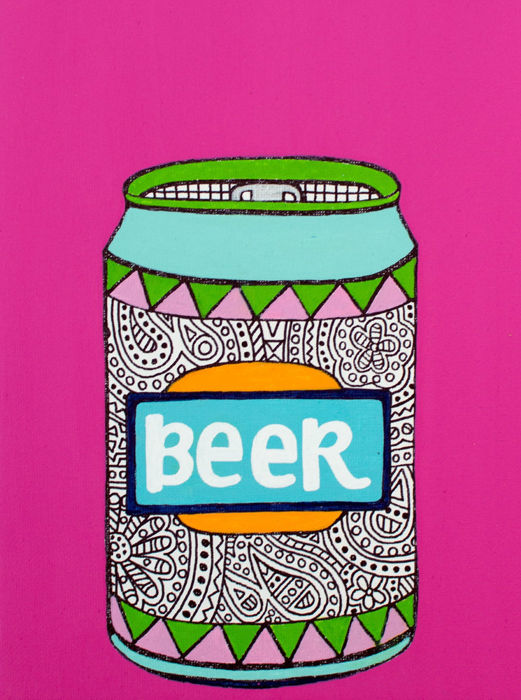 "My ""Bold Beer Can"" 5""x7"" greeting card is vibrant take on a classic beverage. It's for my females who aren't afraid to make a statement (and chug a craft beer in the process)!"