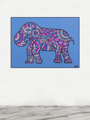 "My ""Blue & Pink Elephant"" 8""x10"" original canvas is iconic and feminine. I hope it brings good vibes, positivity, and a sense of calm to your living space."