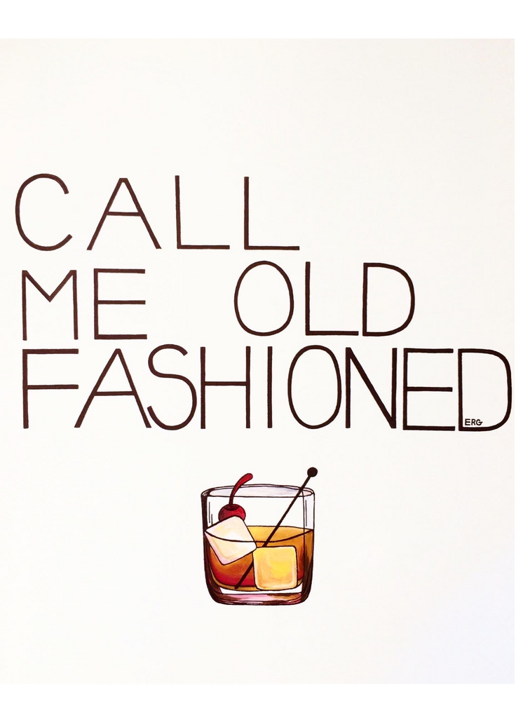 "Load image into Gallery viewer, My ""Call Me Old Fashioned"" 5""x7"" greeting card was created for my bourbon drinkers. It's an ode to boyfriend's go-to cocktail of choice. Simple, sweet, and reliable - just like him. This print is my best seller, and he is my best friend."