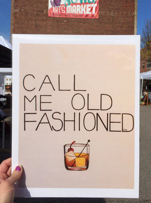 "My ""Call Me Old Fashioned"" art print was created for my bourbon drinkers. It's an ode to boyfriend's go-to cocktail of choice. Simple, sweet, and reliable - just like him. This print is my best seller. It comes in 8""x10"" or 11""x14""."