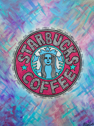 "My ""Starbucks in Color"" 11""x14"" original canvas is a colorful take on a classic. It's a vibrant addition to a kitchen or coffee bar."