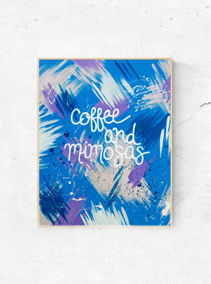 "The ""Coffee & Mimosas"" art print pairs together my two favorite breakfast drinks. It's a little energy mixed with an little bit of party. If you need some coffee bar art, or just a coffee (*raises hand*), this one's for you. The print comes in 8""x10"" or 11""x14""."