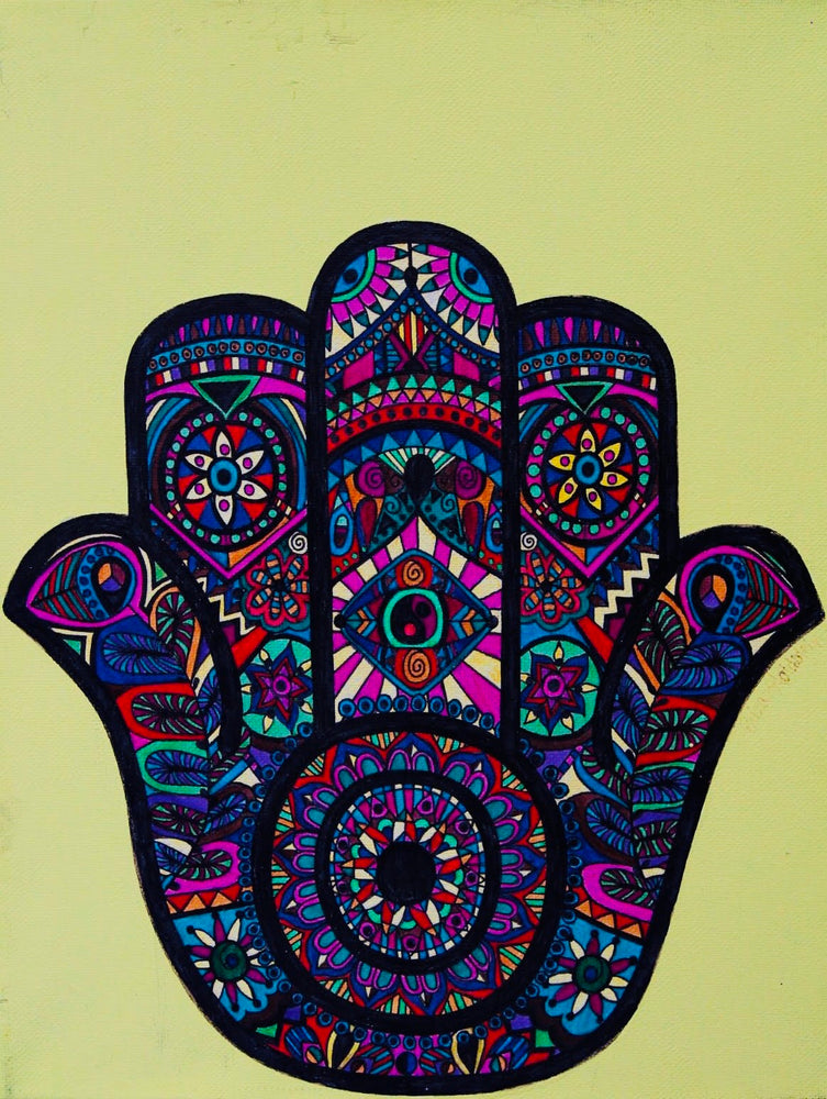 "The ""Colorful Hamsa"" art print is a reminder that the universe has our back. It's meant to bring its owner happiness, luck, health and good fortune. The print is available in 8""x10"" and 11""x14""."
