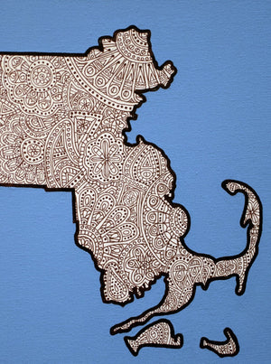 "My ""Map of Massachusetts (Blue)"" 5""x7"" greeting card is a symbol of my new home - Boston. This city gives me all the warm & fuzzies. I hope this print does the same for your recipient. There's no place like home!"