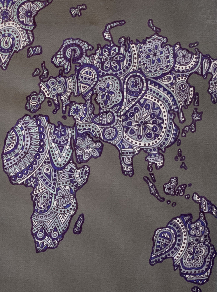 "My ""Map of The World"" 11""x14"" original canvas is a reminder of how dope our big, beautiful world is. This is a great statement piece for a living room or bedroom."